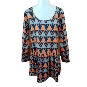 collective concepts dress long sleeve orange gray